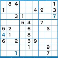 数独の問題で行き詰まったので教えてください。  黒字が元から入っていた数字。  青字が私が入れた数字です。 できるだけ自分で解きたいので、次どこに着目したらよいかヒントをいただけないでしょうか。 よろしくお願いします。