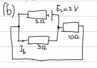 電気回路について質問です。 添付写真ののような電気回路の電流Ibはどのように求めるのでしょうか? Ib=E2/3=2/3[A] では求まらないのでしょうか? ご教授よろしくお願いします。