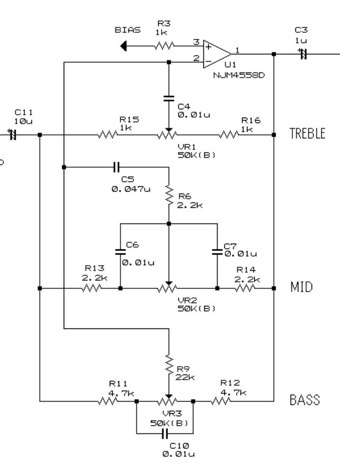 オペアンプを用いたアクティブトーン回路について。 電子回路の勉強をしています。 ネットで見かけた回路図なのですが、何点か分からない事があるので、ご教授のほどよろしくお願いいたします。 ※回...