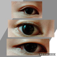 今、中学2年生なんですが通常時は一重なのですが眉毛を手で持ち上げると線が薄っすらと入っています。(真ん中の写真)これは普通なのでしょうか?二重になる可能性はありますか? また上記とは別なのですが目を大きく開けて瞼を下げると二重にすることができます。(上の写真)二重になりたいのですがどうしたらよいでしょう?  一番下の写真は普段の目です!