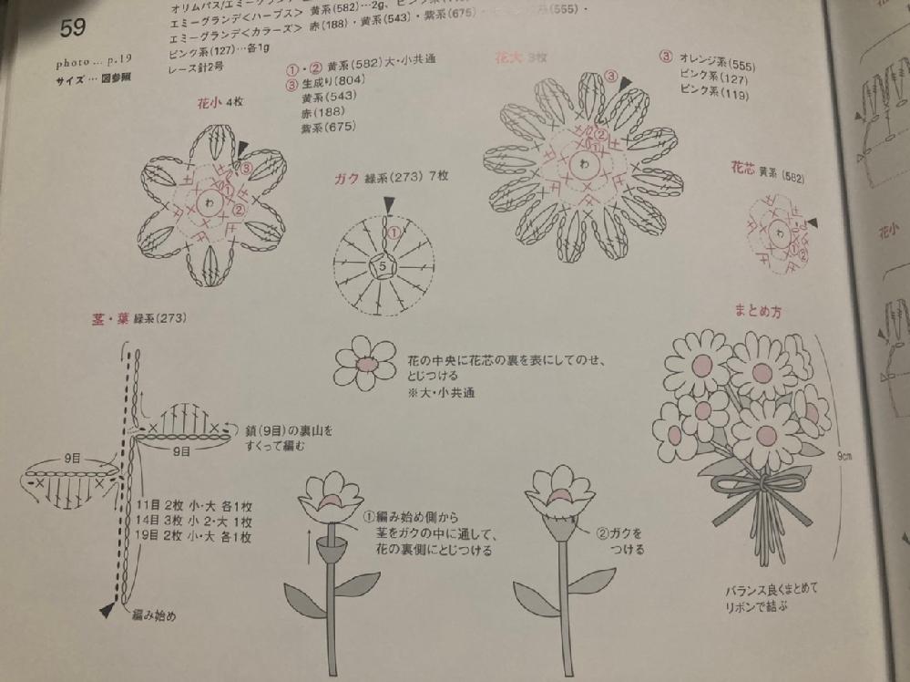 かぎ針の編み図について。 編み図でわからないところがあります。 花芯(赤字)を編んで、花小(黒字)or花大(黒字)を編みつけて終わりなのか、 花芯を編んで、花小or花大を編み付けて、さらに花芯...