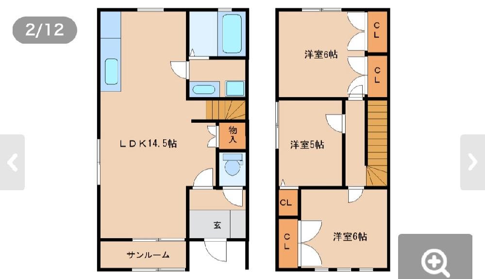 この間取り皆さんならどう家具を置きますか? メゾネットタイプ、夫婦2人暮らし予定です。 対面キッチンの家で育ったため、壁付きキッチンのリビングが想像できません。 またキッチンの反対側にはサンル...
