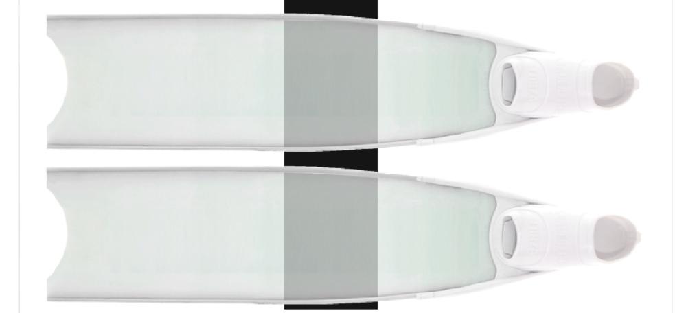 リーダーフィンの加工について 先日リーダーフィンのホワイトをもらいました。(写真と同様の物です) こちらの加工について質問させてください。 フィンの先にワンポイントステッカーを貼り、その上からカメレオンフィルムをフィン全体に貼りたいのです。 裏表同じデザインにしたいのですが、その際に ・泳ぎに影響が出るか(硬くなる等) ・グラスファイバーが傷みやすいか ・カメレオンフィルムは水中で剥がれてしまうか ・ステッカーの上からカメレオンフィルムを貼る場合、元のステッカーは原色を使った方が綺麗に見えるか ・カメレオンフィルム等キラキラしたものは水中では危険か(ダツやサメがよってくるなど) 以上の5点について教えてください。 素潜りやダイビングでたくさん使いたいと思っています。 よろしくお願いいたします。