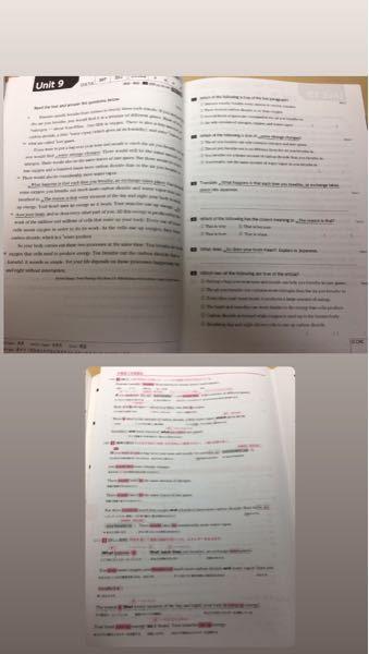 高校2年です。 英語で写真(上)のような 長文読解の授業があり、事前に問題を 解いてきて、授業で先生が 解説するという感じで、 定期テストは写真のテキストの 問題を少しいじったようなものが 出題され、しっかりとテキストを 勉強している人は高得点をとれる という感じなのですが 私はいつも欠点ギリギリみたいな感じで… ここで質問です。 このような長文読解は、どのように 予習して復習またはテスト勉強したら 良いですか? 一時期、予習の段階では 長文で分からない単語を調べて 翻訳機能などを使って 自分なりに訳した後 問題を解くみたいな感じでやっていて、 テスト勉強では、授業で配られる 写真(下)のような解説を見て 理解した気になった…という感じで 予習で日本語訳したものは 放ったらかしになっていました(´._.`) 今までのように予習は、 単語を調べたり、日本語訳したら 良いのでしょうか? また、日本語訳は覚えた方が良いですか? 長くなりましたが 長文読解の予習、復習、テスト勉強の仕方教えてください!!