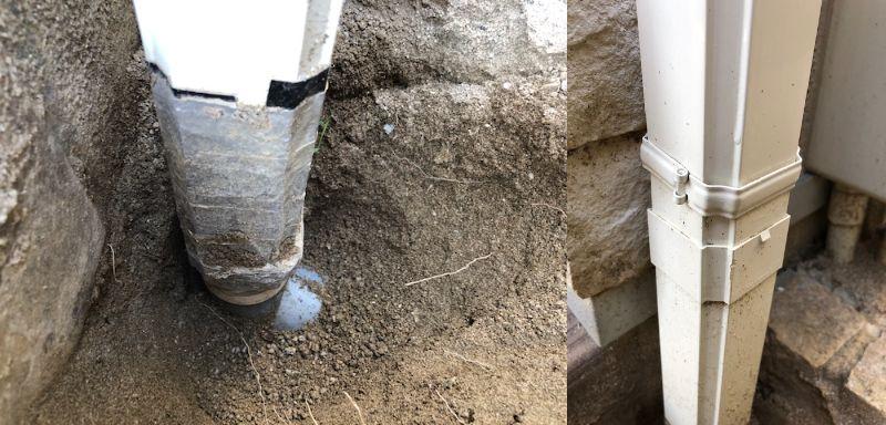 雨水の縦といについて 雨水桝に屋根からのたてといが繋がって雨水を排水しています。 たてといと雨水桝への連結部分に損傷がみられ、現在テープで補修していますが、 この部分のみの修理を行いたいと思っています。 その場合添付写真右側のところが継手になってるので、 そこを外してたてといを取り出し、 長さを図って、新しいたてといを購入して同じサイズに切って 雨水桝への配管部分へのたてとい角丸継手が損傷してるかもなので交換、 そして雨とい用接着剤で上下部分を接着すればできるのでしょうか? 必要なもの(パナソニックだと思われるので) 雨とい用接着剤 たてとい(S30) たて継手(S30) かくるくる継手(S30) たてとい 角丸継手 たてとい S30 伸縮たて継手 を使用したほうがいいのでしょうか? まったくの素人です。 どうぞよろしくお願い致します。