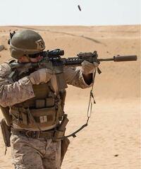 アメリカ海兵隊員のこの銃は何ですか?