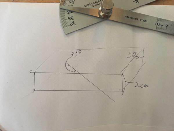 45度以上の傾斜をつけた板材の切断について。 以下のような切断を出来る機械、方法を教えていただけませんか?丸鋸だと45度以上傾斜出来ないので。 軸傾斜横切り盤も45度まででしょうか? 切断面で一旦90度で切り、木口側から35度で切るしかないでしょうか?