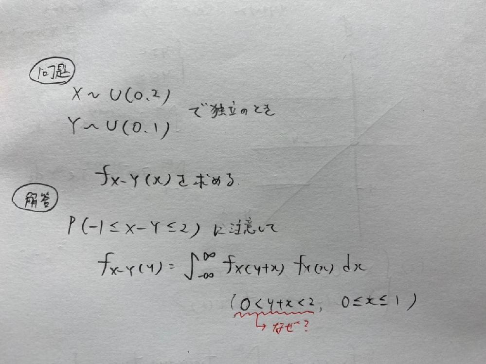 一様分布の「差の分布」について 添付の画像にて、y+xの定義域が このようになる理由がわかりません。 初歩的な質問かもしれませんが、 何卒よろしくお願いします。
