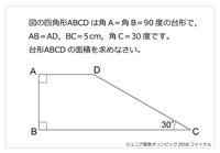 この台形の面積の求め方分かりますか? 三角関数を使う場合はどのように解くのでしょうか?