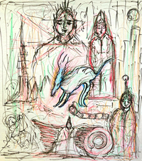 """この絵、どう思います?スピリチュアルを専門にしている人が描いた絵です。 皆様の感想お待ちしております。 (出典元) https://ameblo.jp/spiritual-b-boy/entry-12625956608.html  1番大きく描かれている人→菅首相 1番右側に描かれている人→岸田さん  …だそうです。これを描いたタカテルっていう人は、""""特徴をおさえている""""と自画自賛してますが..."""