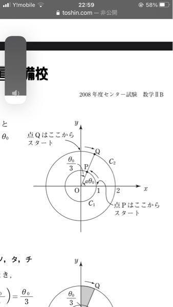 aを正の定数とする。点Oを原点とする座標平面において、中心がOで、半径が1の円と半径が2の円をそれぞれ円C1、C2とする。θ≧0を満たす実数θに対して、角aθの動径とC1の交点をPとし、角π/2-θ/3の動径との交点をQとする 。ここで、動径はoを中心とし、その始線はx軸の正の部分とする。 そもそも問題文が意味がわからないんですが 点Qと点Pの始まりが違うのが分かりません。どの部分でその説明してますか??
