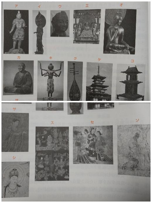 日本史 仏像 絵画 工芸 この画像のア~ソすべての名前を教えてください。