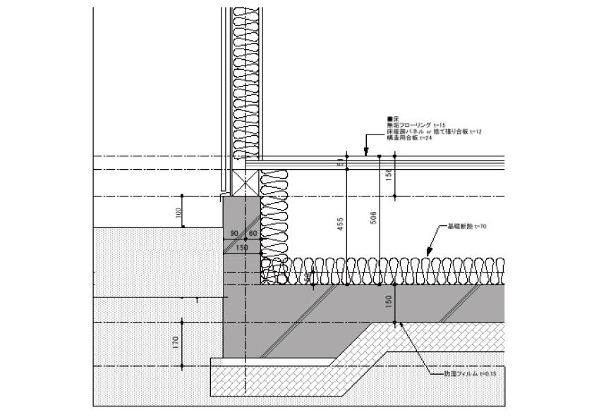木造住宅の図面で、画像のように地面から基礎の上までの高さが100mmだった場合 法律的に問題ありますか?
