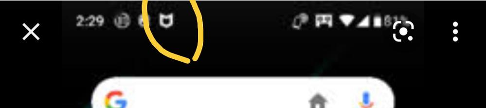スマホ アンドロイド使っていますが、このマークは何のマークでしょうか?ついてもすぐに消えます。 黄色で囲ってるマークです。