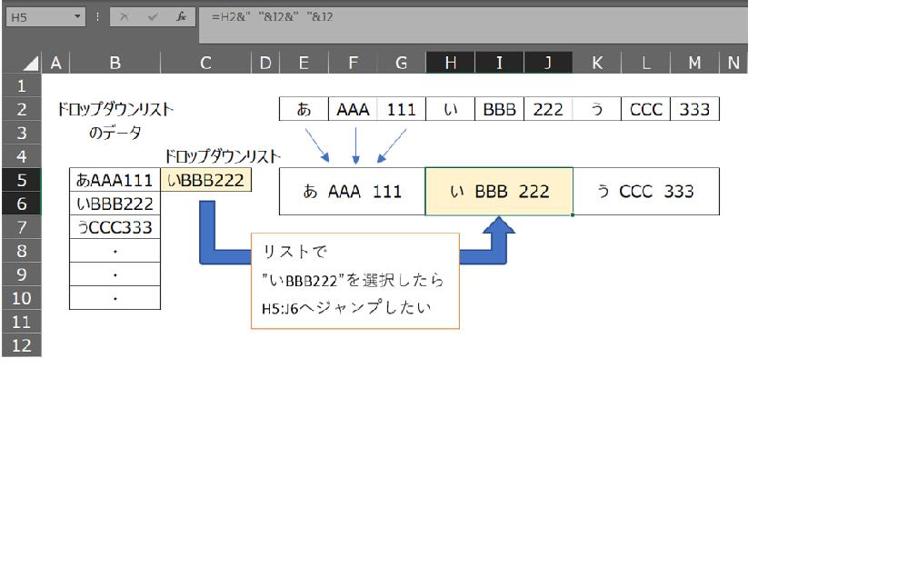 エクセルで、プルダウンリストから選択した項目に対して、関数を使って表示した同じ内容の文字の結合されたセルへジャンプできるようにしたいです。 B列にドロップダウンリストの元データ(別シートから=を使用して引用しています) C列にドロップダウンリスト E列以降は、リストに一致するデータ名があります。 ジャンプ先の結合されたセルは、横方向に伸びる表になっており、30種類ほどあります。 この場合、どのような方法がありますか? VBAについて知識がなく、自分なりにネットから拾い出して当て込んだりしてみましたがうまくいきませんでした。 お助け下さい。