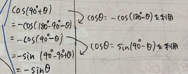 数学1 図形と計量について co(90°+θ)=sinθ という公式を図にかかないで式変形だけで考えてみたんですけど(画像のとおり)合ってますか?