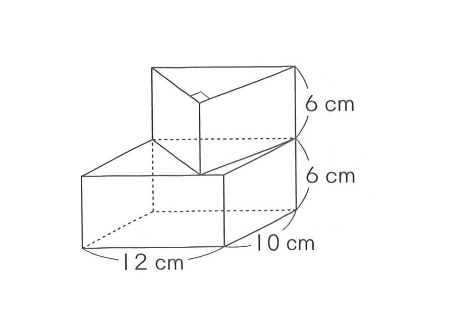 小6算数の体積の問題です。 直方体と三角柱を組み合わせた体積を求める問題ですが、 上の三角柱の求め方が分かりません。 答えは12×10÷2ですが、なぜ12cmと10cmになるのかわかりません。