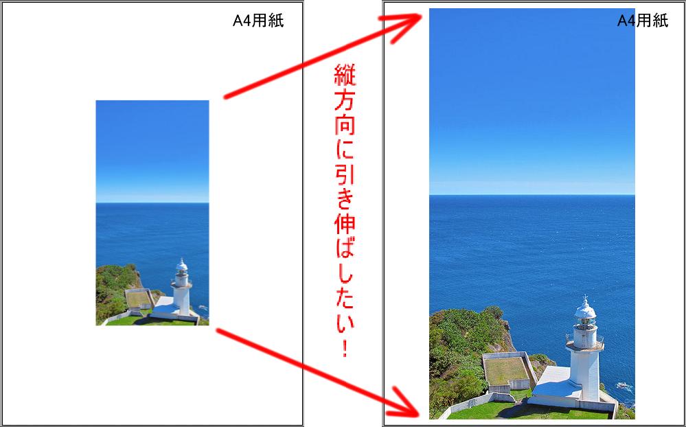 Canon TS3300プリンターにおける引き伸ばし印刷について いつもお世話になっております。 早速ですが、質問です。 Canonの「TS3300」というプリンターにおいて、パソコンから、画像サイズ横300×縦600ピクセルの画像(pngデータ)をA4普通紙に縦向きで印刷しようとしました。 印刷プレビューを確認すると、A4普通紙の真ん中に、画像サイズ横300×縦600ピクセルの画像が配置され、周囲は余白になりました。 これを、A4普通紙の縦方向に引き伸ばして印刷(画質が粗くなるのは承知の上です)したいのですが、設定の方法がわからず、困っております。 ご存じの方いらっしゃいましたら、ご教示の程、宜しくお願い致します。 なお、Canonの「TS3300」というプリンターではA4普通紙にふちなし印刷ができないことは存じ上げております。質問内容は、「画像サイズが小さいデータを無理やりA4サイズに引き伸ばして印刷する方法」となります。