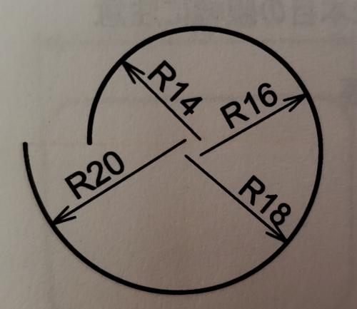 添付のような円弧を描きたいのですが 条件としては 2個目以降の円弧は「円弧継続」 円弧の内閣はすべて90° とあります。 最初から教えていただけますでしょうか。