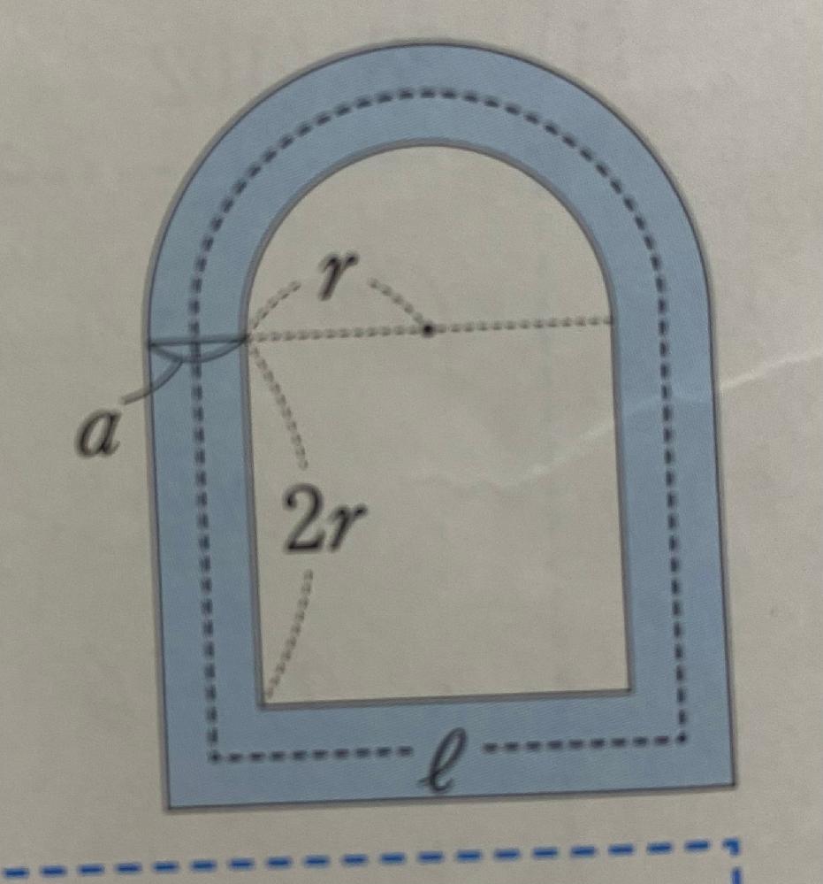 中学数学の問題です。 式の展開と因数分解 写真のように半径rの半円と、1辺2rの正方形を組み合わせた形をした広場があり、この広場の周りに、幅aの道をつくります。この道の面積をS、道の真ん中を通る線の長さをLとするとき、S=aLとなることを証明しなさい。 という問題です! 教えていただけると嬉しいです!!(*´ー`*)