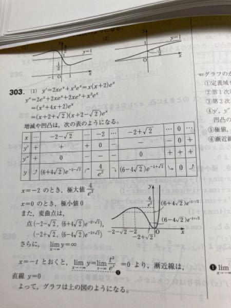 y=x^2・e^x についてなんですけど、この増減表のyの1回微分のプラスマイナスはどうやって判断したら良いですか 至急お願いします