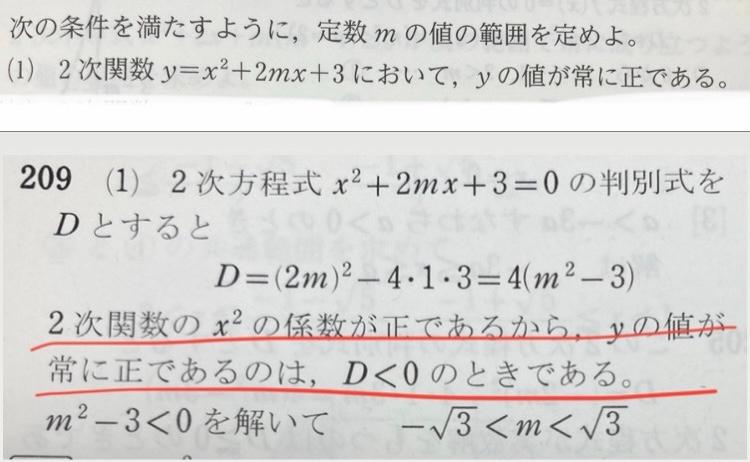 この問題の解説の線をひいた部分がどういうことか分かりません。なぜD<0というふうに決まるのか教えてください!おねがいします 上の写真がが問題で下が解説です。