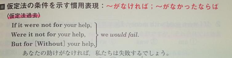 下の写真の問題で、If it were not for〜の文とWere it not for 〜の文がまとめて「あなたの助けがなければ〜」と訳されていますが、この2つの文に意味の違いはないのでしょうか?