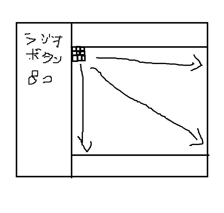 pythonを使ってこの絵のようなプログラムを書きたいです。 左側にラジオボタン8つで左揃え、右側に上下空白のフレーム、 下側に80個の何も引用されていない正方形の(押すと色は赤色になる)ボタン...