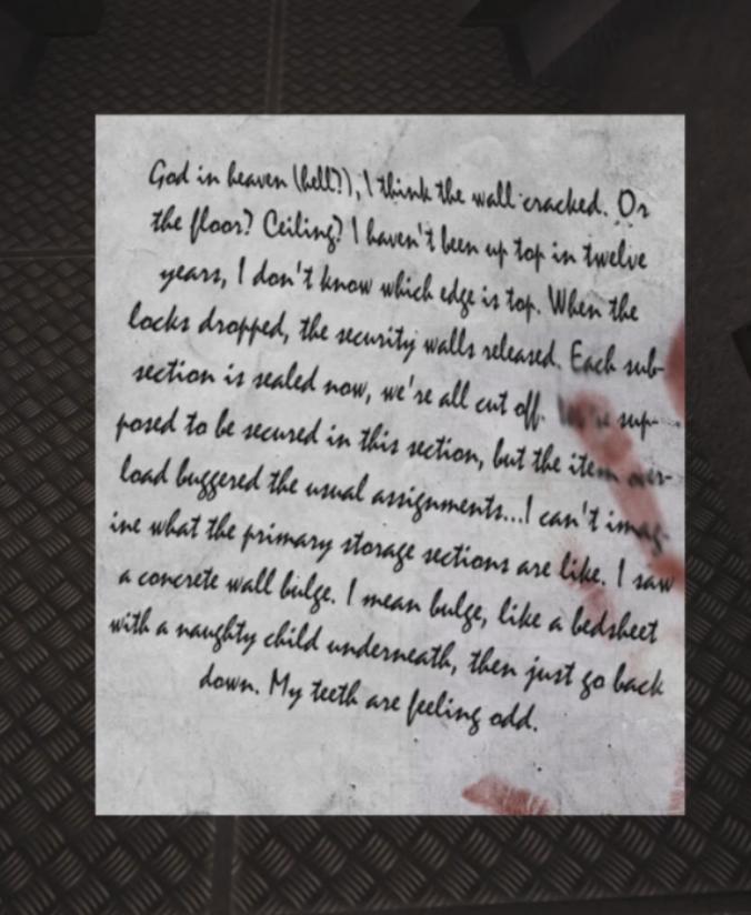 筆記体読める方お願いしますm(__)m ゲームに出てきたメッセージですがなんて書いてありますかね…
