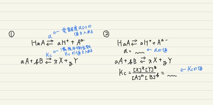 化学についてです。(急ぎです) 電離度αと濃度平衡定数Kcについて、 写真の①のような記述の仕方は問題ないのでしょうか。また、②のように分けて書くほうがいいのでしょうか。 ご回答よろしくお願いいたします。
