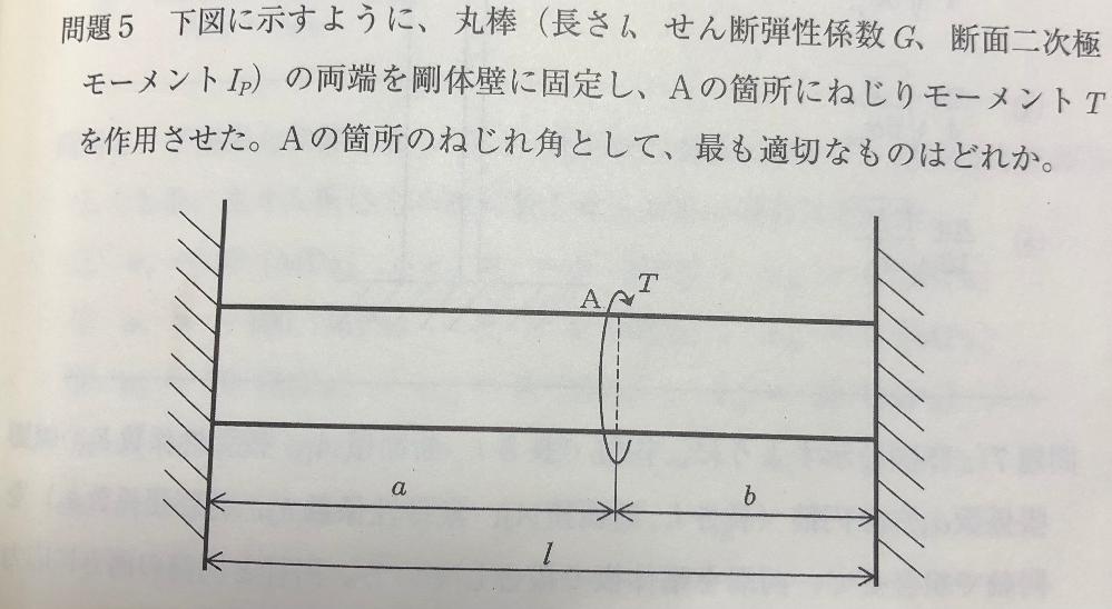 材力力学、丸棒のねじりについてです。 解説によると、答えは φ=(ab/(a+b))(T/GIp) ですが、 ab/(a+b) がいったいどこから導出されるのでしょうか?