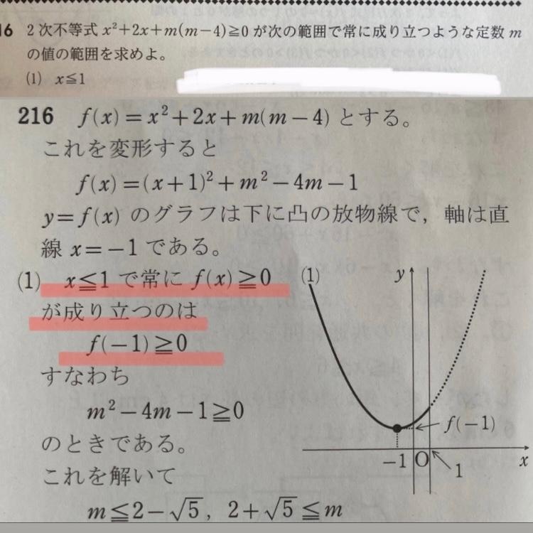 この問題の線をひいたところが理解できません。なぜx≦1で常にf(x)≧0が成り立つのはf(-1)≧0と決まるのか教えてください!お願いします (上の写真が問題で下が解説です)