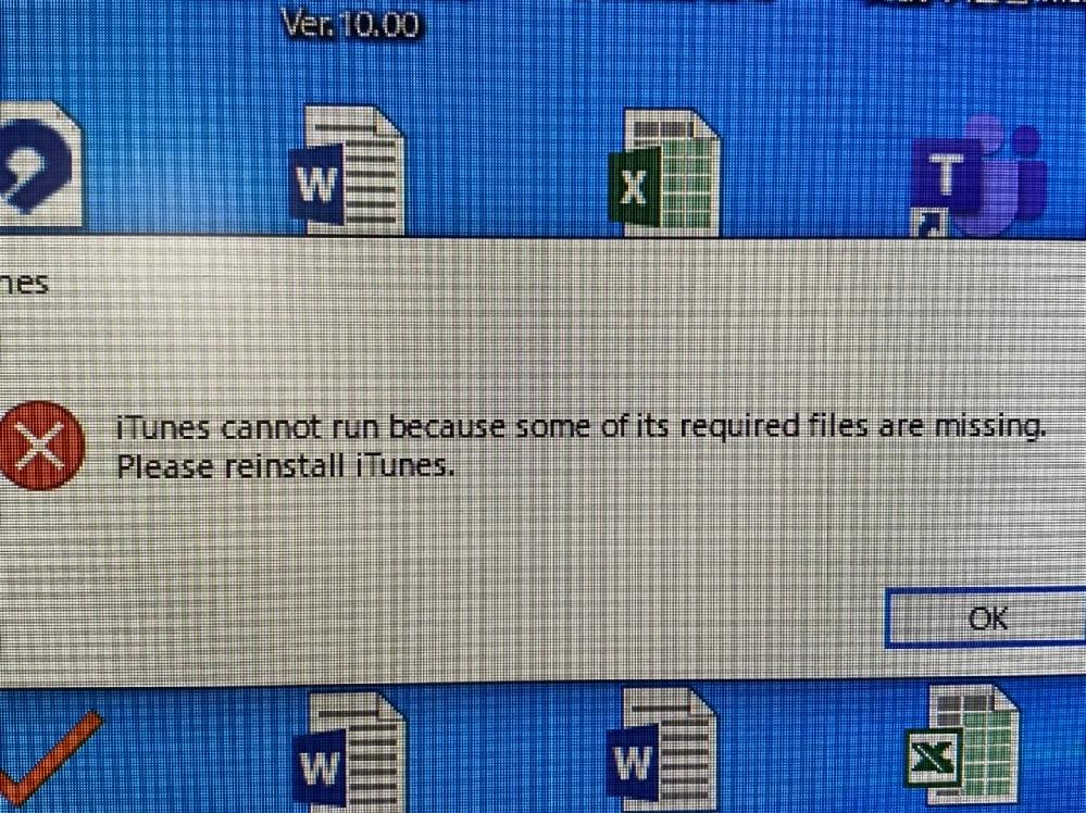 パソコンのiTunesを開こうと思ったら、こんな 画面になって開けませんでした。対処法を教えて下さい。
