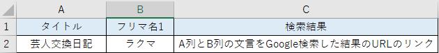 【お礼500枚】検索結果のURLを、一覧表に返す方法について 質問をご覧頂きありがとうございます。 検索結果のURLを一覧表に一気に貼り付けたいと思っています A列 B列 著作名 フリマアプリ...