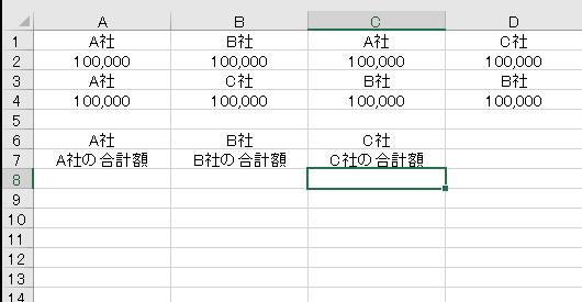 エクセルの関数について教えていただきたいです。 別シートの売上表を参照にした関数で画像のような表が有ります。 1行.3行には社名が、2行.4行には金額 関数を使い各社の合計額を7行目に抽出したく思います。 宜しくお願い致します。