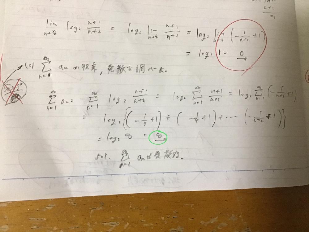数学lllで写真の緑で示した部分が解答はー♾になっていて答えが異なりました。これはanが連続関数でないのにlogを前に出しているところが駄目なのでしょうか? もしそうだとしたら、anが連続関数でない理由を教えてください。間違っている箇所が他であるならば、その箇所を間違っている理由とともに詳しく教えてください。