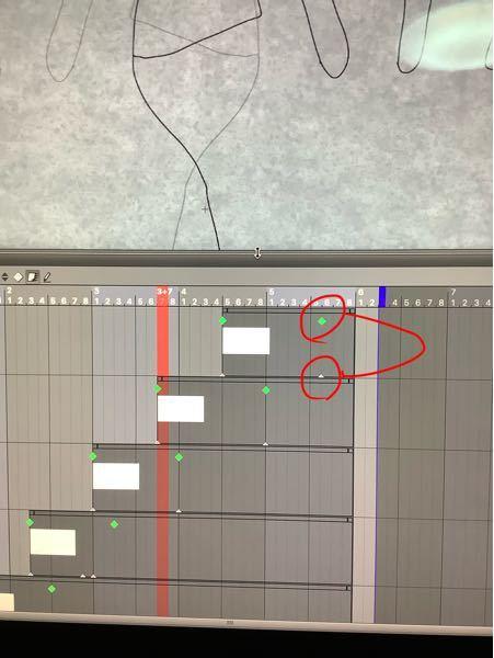 CLIP STUDIO PAINTについて初歩的な質問です。 下の写真のようにキーフレームを打つと緑とその真下に白のものが同時に打たれると思います。 緑のものは移動や変型、不透明度の調整などが出来ますが、実質的な効果は白いものが優先されます。 この白いキーフレームは何のためにあるのでしょうか? 一度打つと白のものは固定され動かすことができません。 白いものだけを消すこともできません。 全てのキーフレームを削除で消すことができますが、 緑のものも消えてしまい最初から作業全てをやり直さなければなりません。 皆様はキーフレームを打つとき、一発勝負で行なっているのでしょうか? #編集 #アニメーション #クリスタ #クリップスタジオ