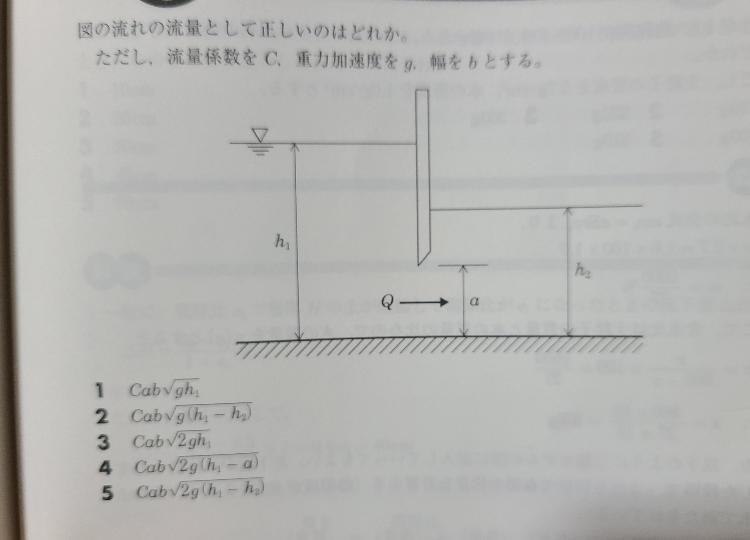 水理学の質問です。 下図で平均流速がv=√2g(h1-h2)になる理由を教えていただきたいです。