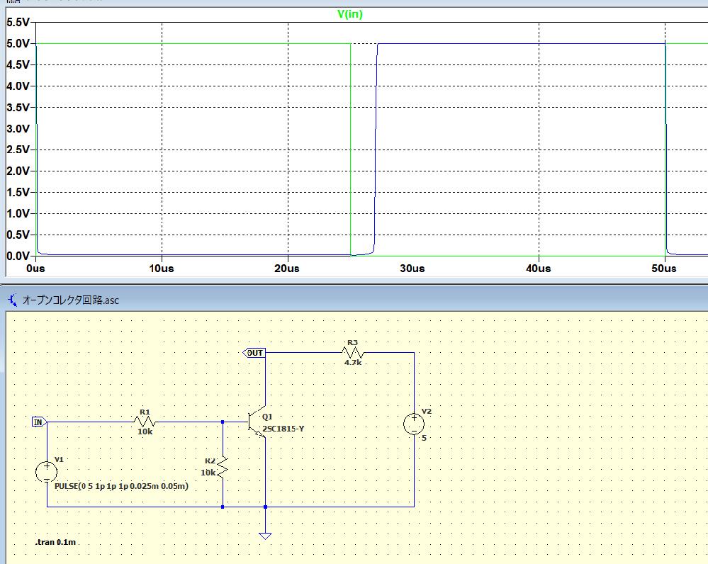 写真のようなオープンコレクタ回路についてです。 ベースに矩形波を入力し、ベースがONになったときにコレクタの信号がグランドレベル、ベースがOFFになったらプルアップ抵抗を介してコレクタの信号が5...