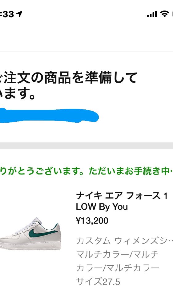 NIKEで初めてスニーカーを注文しました。先程コンビニ支払いを終えたのですがメールもまだ来てません。NIKEの注文のところいってもこのような画面しか出てきません。大丈夫なんでしょうか。。