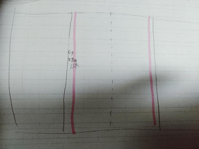 自動車の駐停車の方法について。 この場合(ピンク色の線を白線とする、道路の外は両方とも田んぼ)の駐車位置は白線の内側ですか?