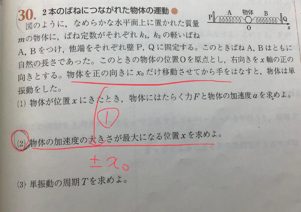 高校物理、単振動の質問です。 ①(2)についてなのですが加速度が最大なのは中心から離れているところだと思うのですがこの情報だけでなぜ±x0が答えと分かるのですか。教えてください。よろしくお願いします。