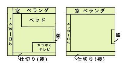 部屋の模様替えについて質問させていただきます。 模様替えをしたいと思っているのですが画像の左側が現在の配置になります。(ベッドとカラーボックス+テレビしか家具は置いてありません。) 部屋が確か...