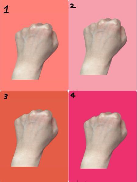 パーソナルカラーについて。 1〜4の中で1番明るく、血色がよく見えるのは何番ですか?