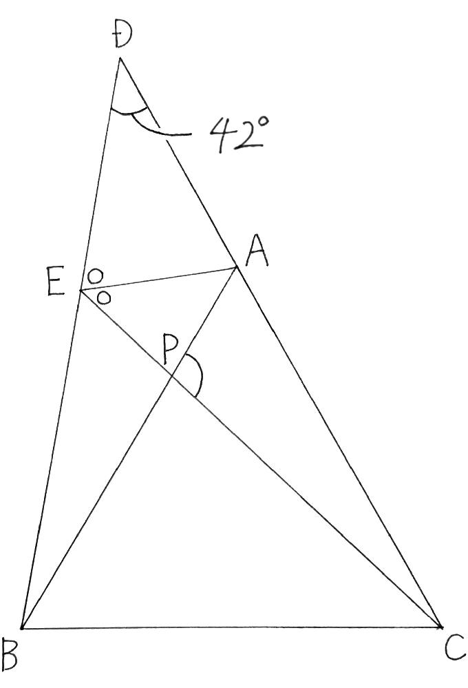 下図において△ABCは正三角形であり、線分AEは∠DECの2等分線です。 C,A,DとB,E,Dは一直線上に並んでおり、点Pは線分ABとCEの交点です。 このとき、∠APCの値を計算で求める過程を教えてください。