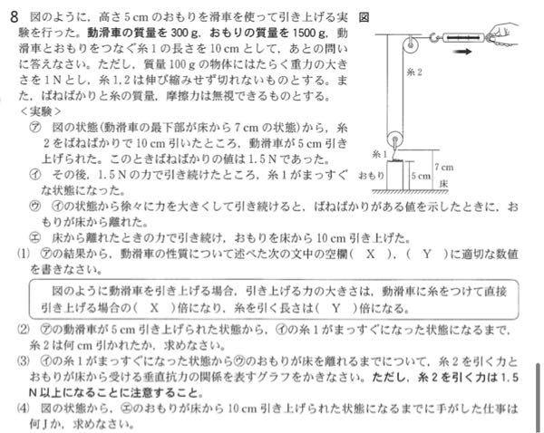 中3理科物理の問題です。 これの(2)を教えて欲しいです。 答え 6cm 解説 糸1がまっすぐになるには図1の状態から動滑車が10cm−(7cm−5cm)=8cm引き上げられた時である。 実験1で動滑車は5cm引き上げられているので、あと3cm引き上げるには糸2を3cm×2=6cm引けばよい。 この解説を読んでも分かりませんでした 特になんで動滑車を8cm引き上げると糸1がまっすぐになるのか教えてください