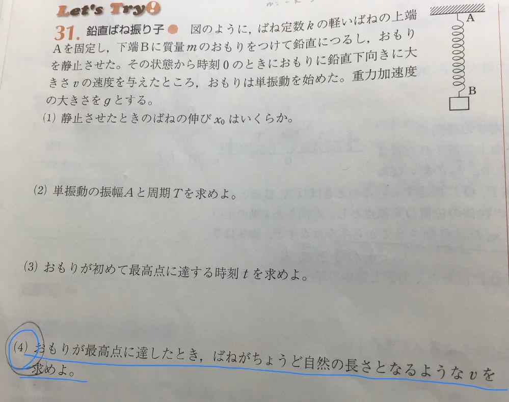 高校物理、単振動の質問です。 (4)はどのように解いていけば良いですか。詳しく教えてください。よろしくお願いします。