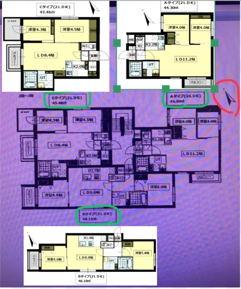 賃貸アパートを選ぶのにお部屋の間取りで悩んでいます。 こちらの画像の3タイプのお部屋の場合、皆様はどのタイプを選びますか? ちなみに階数は4階になります。 Aタイプはバルコニーから外を見た際に隣の一軒家の屋根が少し見える景色で、BとCタイプのバルコニーは見晴らしの良い景色でした。 皆様のご意見を参考に決めたいと思いますのでよろしくお願いします。