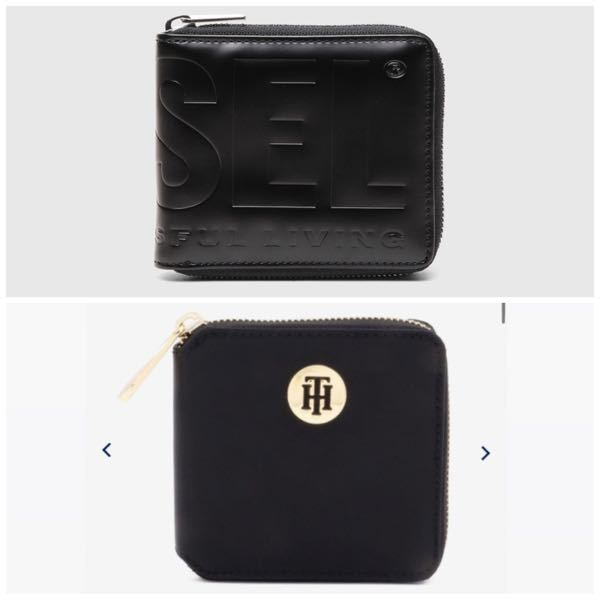 【至急】 高校生男子が使うとしたらどちらのお財布がいいですか? 上がDIESELの財布で下がTOMMY HILFIGERの財布です。 2つで迷っているので参考になる意見をお聞かせください。