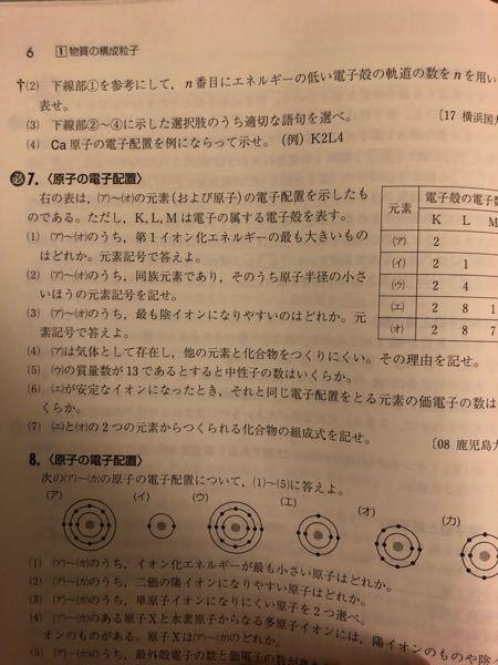 急募。化学の回答で最外殻が満たされた閉殻構造であり、安定な電子配置であるから。これを貴ガスで安定しているからではダメですか?7番の(4)です。(ア)はHEです。